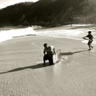 Young surfers play on my favourite beach.