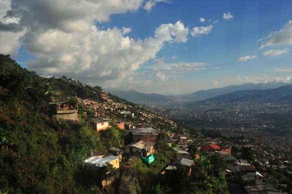 The view of Medellin from their fantastic metrocable system. Beast the London underground any day!