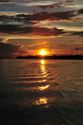 Sunset on the boat from Tabatinga to Manaus