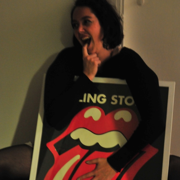 My awesome new friend, Nathalie, hugs The Stones.