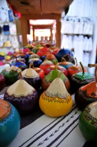 Gourds are turned into beautiful painted pots