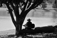 Cowboy at a reservoir outside Oaxaca City