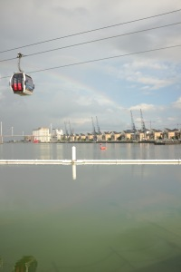 A rainbow above the cable cars